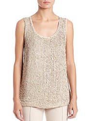 Lafayette 148 New York Sequined Suede And Silk Blouse Gold