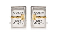 Jan Leslie Men's Spinning Gavel On Book Cufflinks Silver
