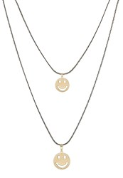 Sweet Deluxe Smile Necklace Goldcoloured Black