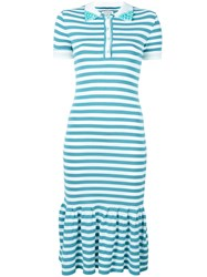 Natasha Zinko Striped Polo Dress Blue