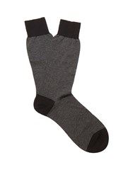 Pantherella Seymour Striped Cotton Blend Socks Black