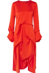 Sies Marjan Noemi Draped Silk Satin Midi Dress Crimson