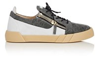 Giuseppe Zanotti Men's Denim And Suede Double Zip Low Top Sneakers Grey White Grey White