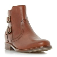 Linea Pascall Double Buckle Ankle Boots Tan