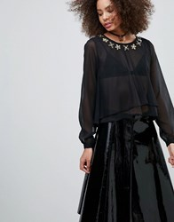 Qed London Chiffon Blouse With Embelished Detail Black