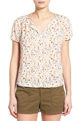 Hinge Women's Print Split Neck Top Ivory Mushroom