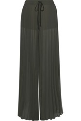 Enza Costa Pleated Chiffon Wide Leg Pants Army Green