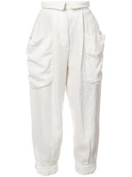 Osklen Cropped Tapered Trousers Women Linen Flax 36 White