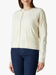 Jaeger Cropped Cable Detail Cardigan Ivory