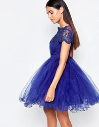 Laced In Love Cobalt Lace And Mesh Prom Dress Cobalt Blue