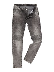 Religion Men's Slim Fit Washed Grey Biker Jeans Grey