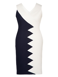 Chesca Navy Ivory Contrast Panel Jersey Dress