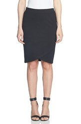 Cece Women's Ponte Faux Wrap Pencil Skirt Rich Black