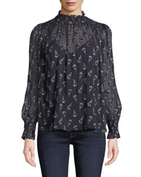 Baandsh Malawi High Neck Floral Long Sleeve Top Black