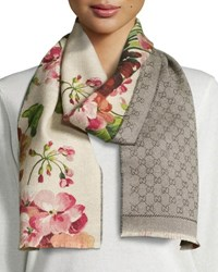 Gucci Miniorophin Floral And Logo Wool Scarf White Pink White Pink