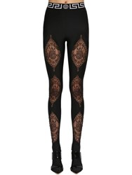 Versace Lycra And Lace Footed Leggings Black