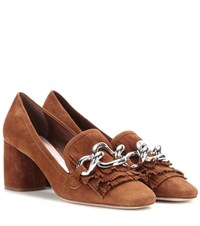 Miu Miu Embellished Suede Pumps Brown