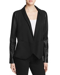 Lysse York Faux Leather Sleeve Knit Blazer Black