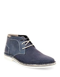 Steve Madden Henree 2 Leather And Suede Chukka Boots Navy Blue