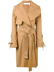 See By Chloe 'Cappotto' Coat Women Cotton Linen Flax Elastodiene 38 Brown