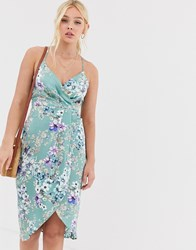 Qed London Wrap Front Slip Dress In Mint Floral Green