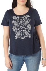 Evans Plus Size Women's Embroidered Tee Navy