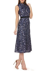 Kay Unger Sleeveless Embroidered Tea Length Dress Metallic Navy