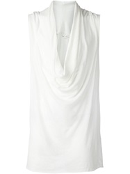 Isabel Benenato Draped Neck Top White