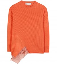 Stella Mccartney Lace Trimmed Wool Silk And Cashmere Sweater Orange