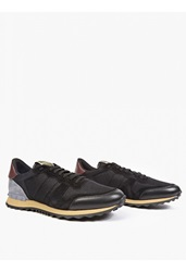 Valentino Black Suede And Mesh Running Sneakers