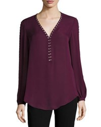 Haute Hippie Sagat Split Sleeve Silk Blouse Plum