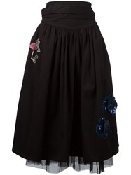 Marc Jacobs Embroidered Tulle Skirt Black