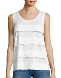 Lord And Taylor Mixed Media Tiered Tank White