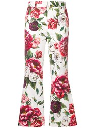 Dolce And Gabbana Peony Print Cropped Trousers White