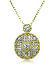 Lord And Taylor Sterling Silver Cubic Zirconia Filigree Pendant Necklace Gold