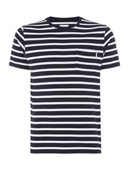 Peter Werth Men's Press Two Colour Stripe Cotton T Shirt Navy And White Navy And White
