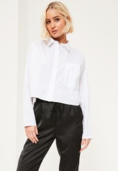 Missguided White Crop One Pocket Shirt