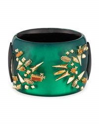 Alexis Bittar Studded Statement Hinged Cuff Bracelet Green