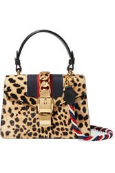 Gucci Sylvie Small Leather Trimmed Calf Hair Shoulder Bag Leopard Print