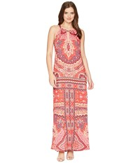 Hale Bob Modern Mosaic Stretch Satin Maxi Dress Red