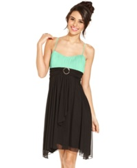 Crystal Doll Juniors Dress Spaghetti Strap Colorblock Empire Waist Black Mint