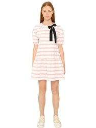 Red Valentino Striped Cotton Jacquard Dress