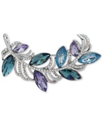 Anne Klein Silver Tone Pave And Blue Stone Leafy Branch Pin Created For Macy's