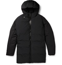Balenciaga Leather Trimmed Padded Shell Parka Coat Black