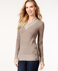 Styleandco. Style And Co. V Neck Button Detail Sweater Only At Macy's Toasted Chestnut
