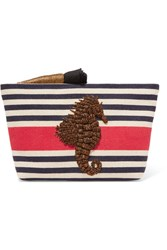 Sanayi 313 Embroidered Striped Canvas Clutch One Size Gbp