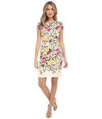 Adrianna Papell Vintage Floral Solid Back Sheath Dress Ivory Multi Women's Dress Bone