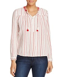 Scotch And Soda Textured Stripe Peasant Blouse Combo C