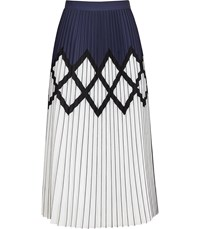 28bf1bc6d Reiss Elsa Printed Knife Pleat Midi Skirt In Navy White Navy White