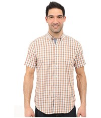 Nautica Short Sleeve Poplin Plaid Fireside Men's Short Sleeve Button Up Orange